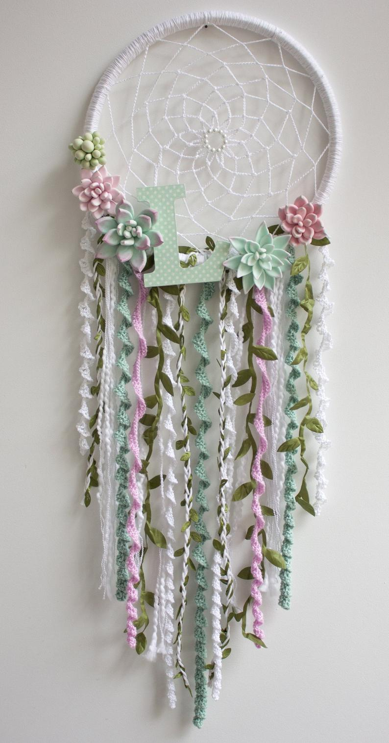 Succulent Dream Catcher, Pink Green Nursery Decor, Succulent Arrangement, Personalized Dream Catcher Wall Hanging, Crochet Dreamcatcher #dreamcatchers