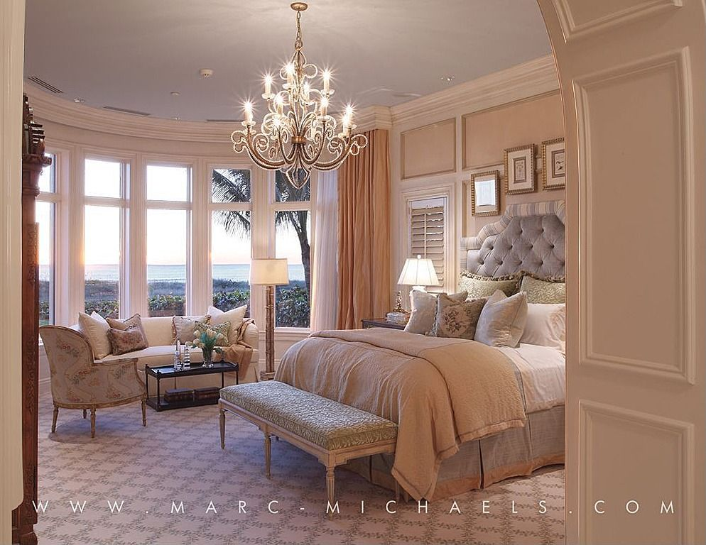 Great traditional master bedroom with chandelier by marc michaels interior design
