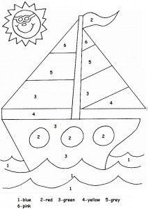 color by number sailboat worksheet transportation worksheet for kids pinterest worksheets. Black Bedroom Furniture Sets. Home Design Ideas