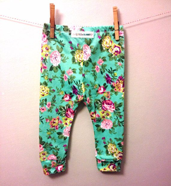 e8f53a2a3 Floral baby leggings mint baby pants toddler leggings stretch pants  handmade baby wholesale on Etsy, $13.00