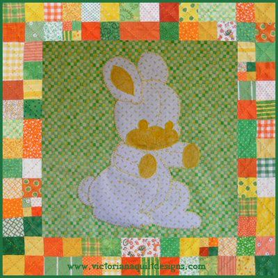 Pet Stuffies Berta the Bunny Baby Quilt Pattern. Details here: http://victorianaquiltdesigns.com/VictorianaQuilters/PatternPage/Stuffies/BertatheBunny.htm The latest in a series of animal stuffies for a baby nursury!