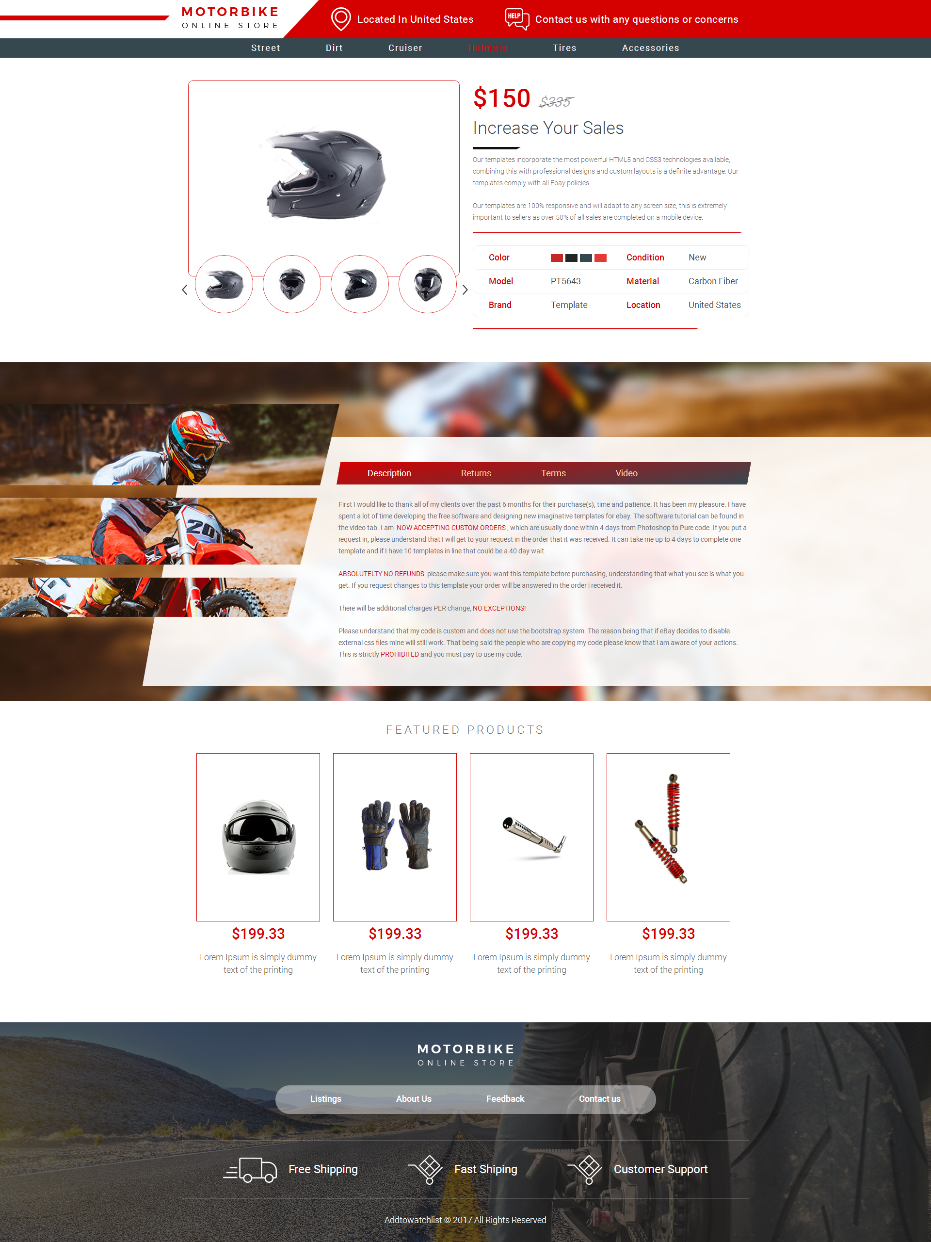 Compliant Mobile Responsive Ebay Auction Listing Template - Ebay website template