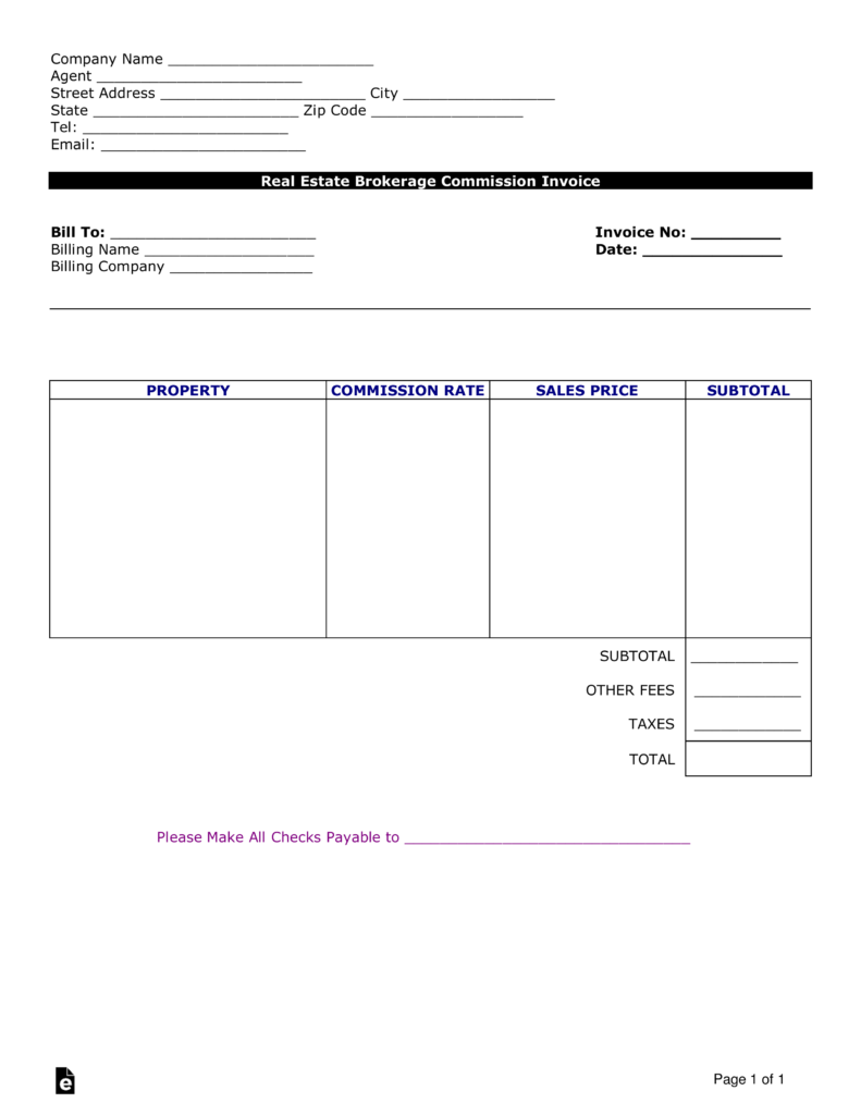 Free Real Estate Agent Commission Invoice Template Word Pdf Eforms Free Fillable Forms Invoice Template Word Invoice Template Statement Template