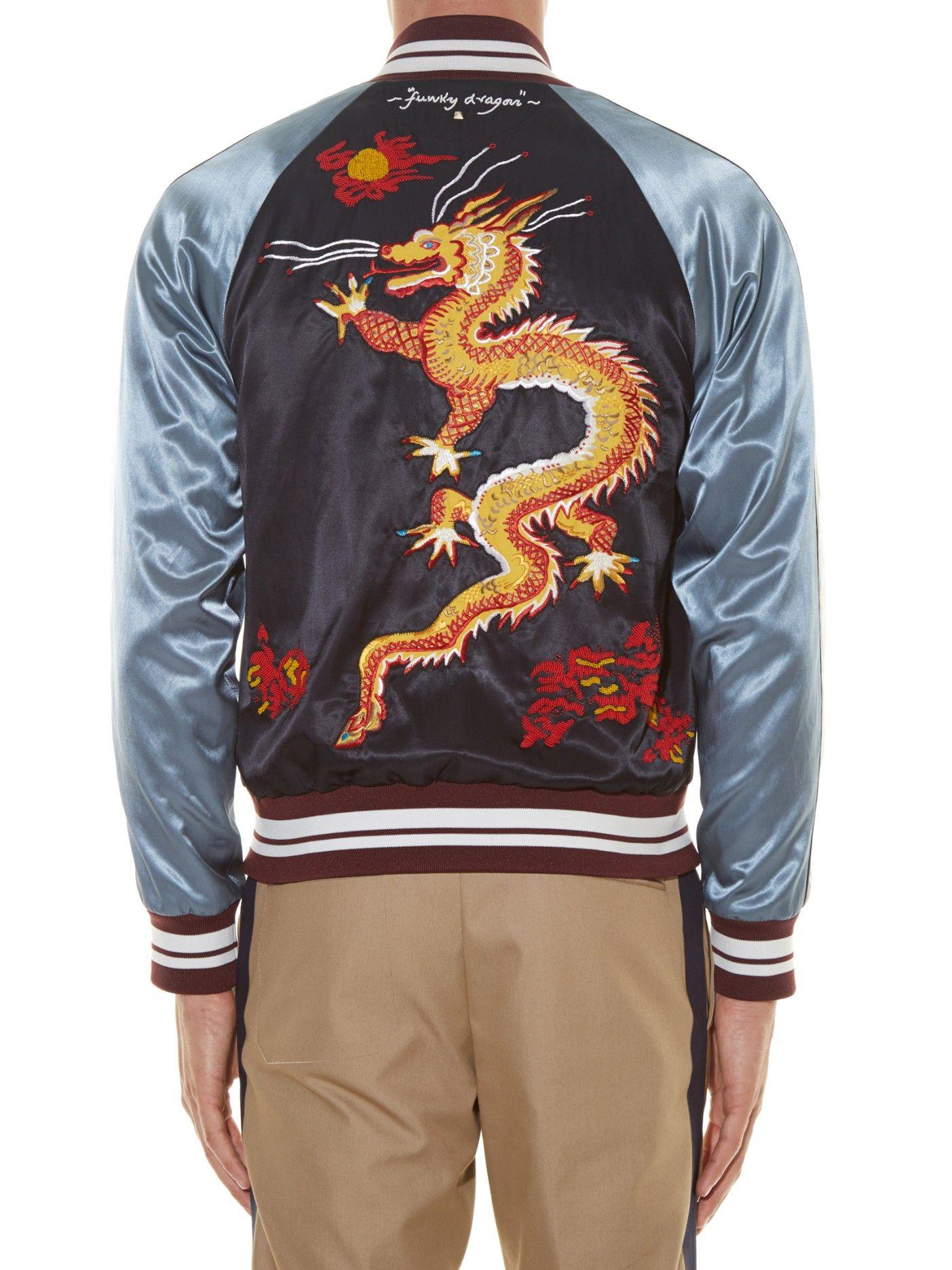 dad8705fd097 Dragon-embroidered satin baseball jacket