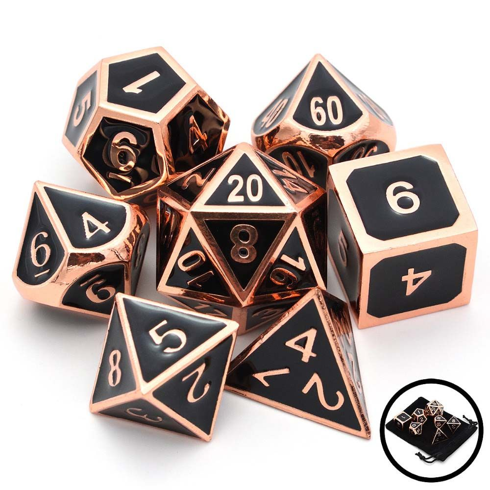 Set of Solid Metal Dice Great for Role Playing Games DnD