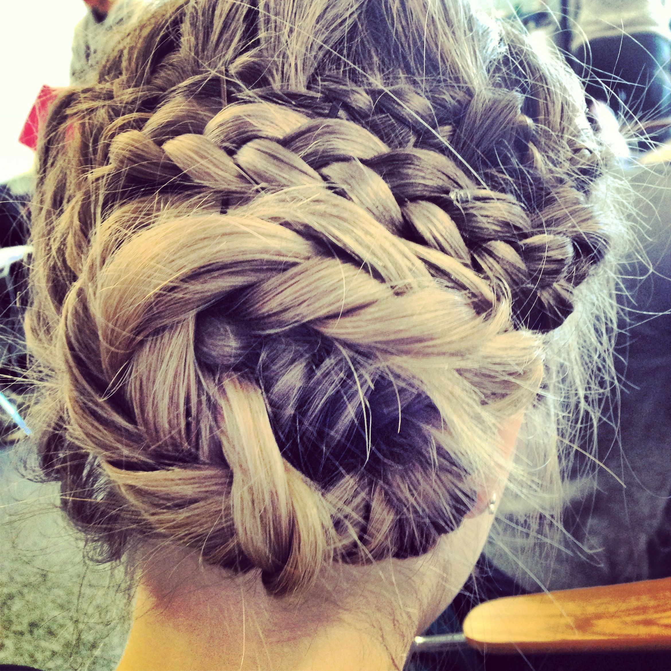 updo fancy crazy braids long