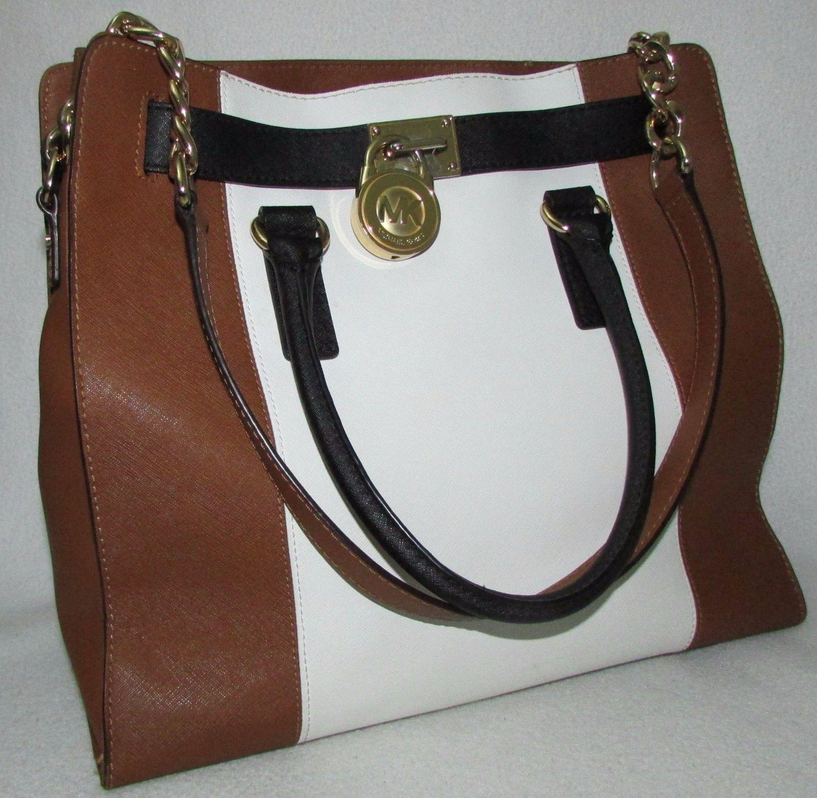 6347e27654ed MICHAEL KORS HAMILTON purse saffiano brown black white chain tote handbag   76.0