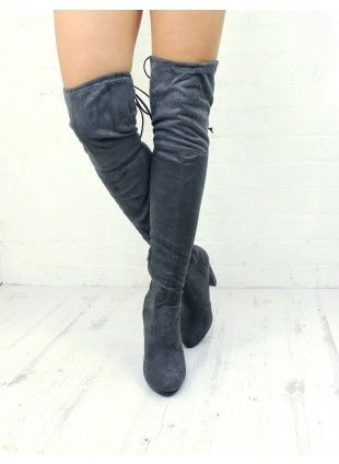 BOOTY CALL GREY THIGH HIGH BOOTS