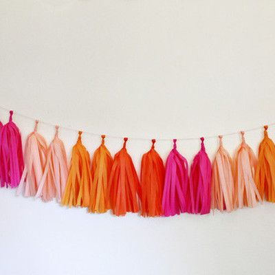 Tissue Paper Tassel Garland kit makes 16 tassels. Assembled garland spans approximately 6 feet. Tissue is pre cut & twine for hanging is included. Instruct
