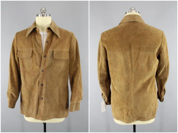 92dcb330741 1970 s - 1980s Vintage Suede Jacket   Roustabout by William Barry   70s 80s  Men s Suede Coat   Tan Suede Leather Jacket   Men s Medium  VintageMenswear  ...