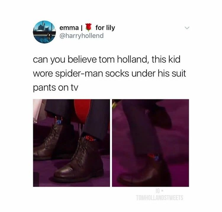 They're not Spidey socks  He's wearing his suit under the clothes