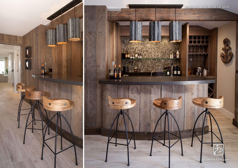 Rustic Bar With Reclaimed Wood And Metal Maraya Interior Design Home Bar Designs Basement Bar Designs Home Bar Rooms
