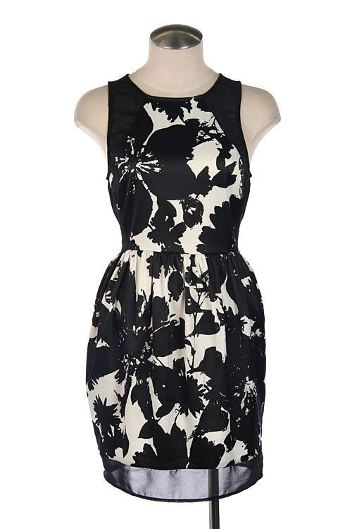 Black and white/cream floral print cocktail dress