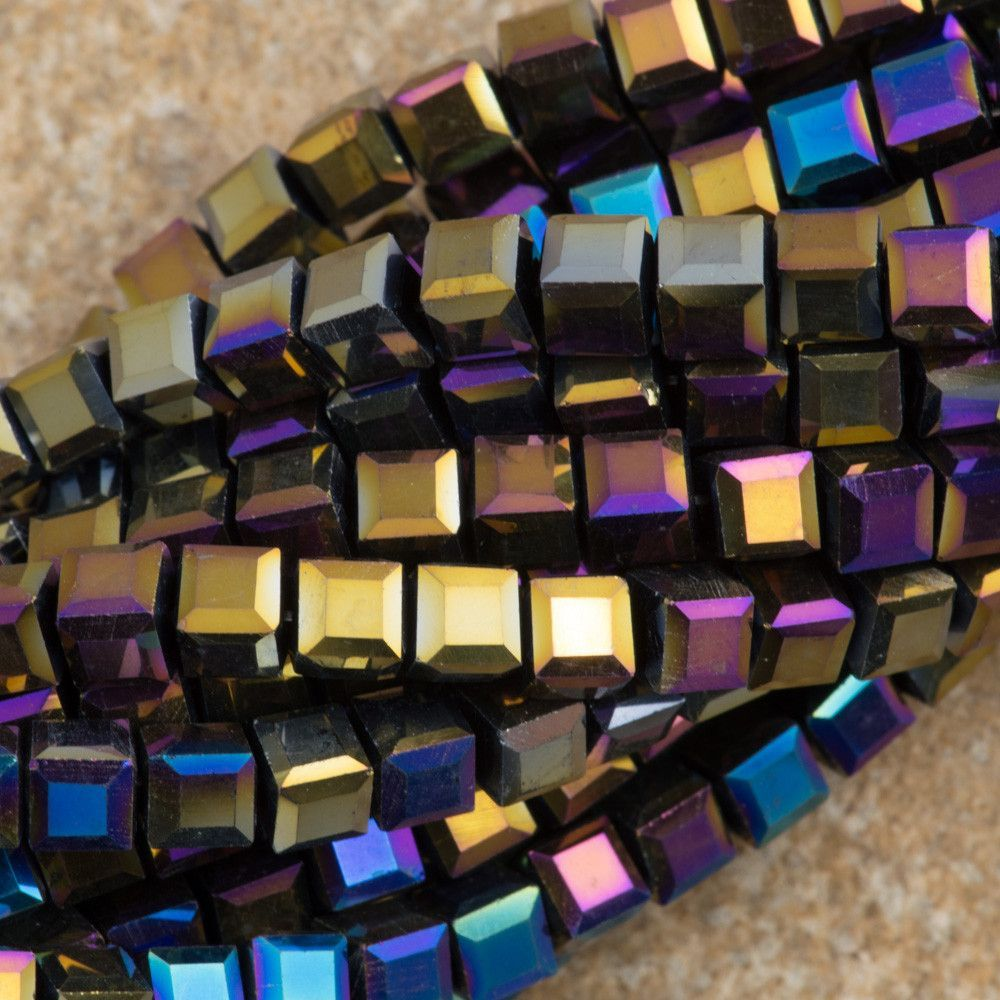 100 Faceted Cube 4mm Black AB Beads