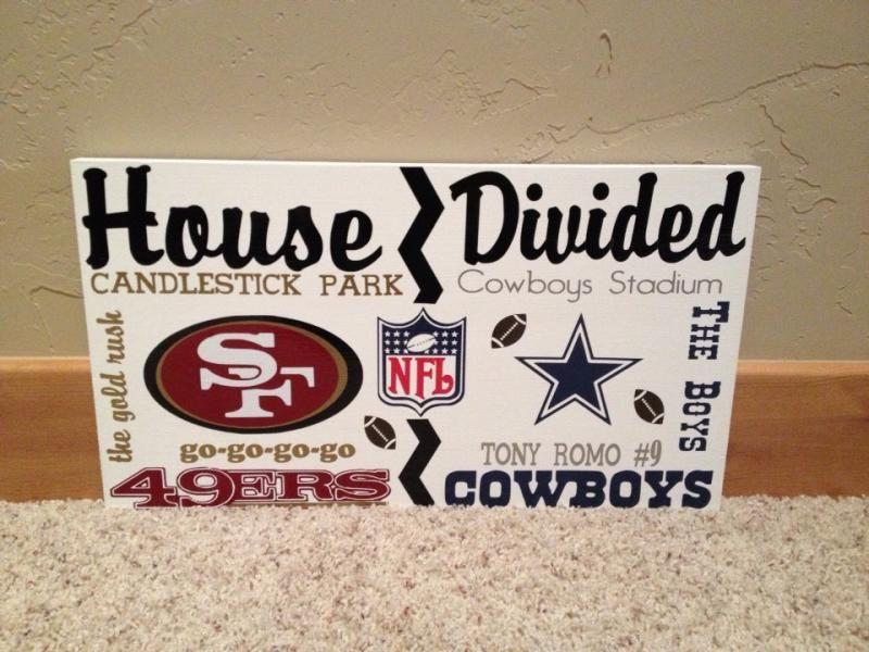 Wooden House Divided Nfl Cowboys Vs 49ers Cowboys Vs