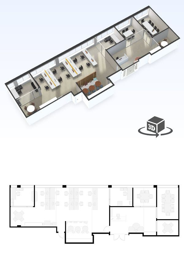 Medium Office Floor Plan In Interactive 3d Get Your Own 3d Model Today At Http Planto3d Com Office Floor Plan Commercial And Office Architecture Floor Plans
