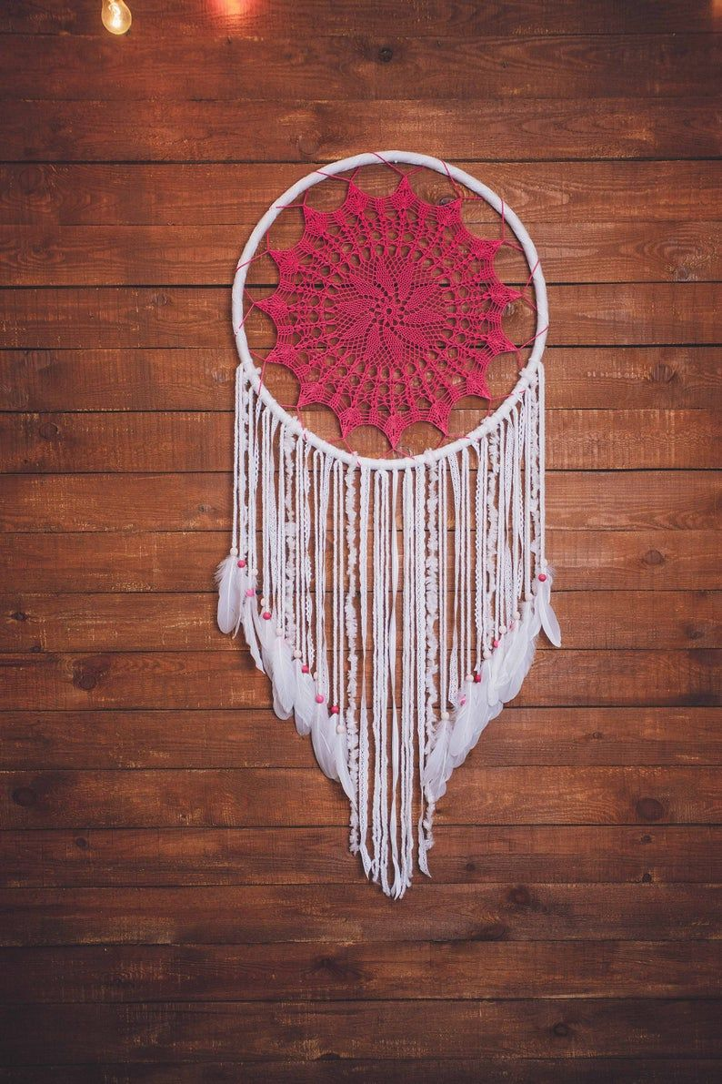 Would this white crochet dream catcher wall hanging melt your heart? Absolutely. This is a beautiful handcrafted boho wall art piece that will bring peace and serenity to your living room. Consider this large dream catcher, if are looking for a gift for a boho lover. Amazing wall art for a dream bohemian home. Pure beauty.