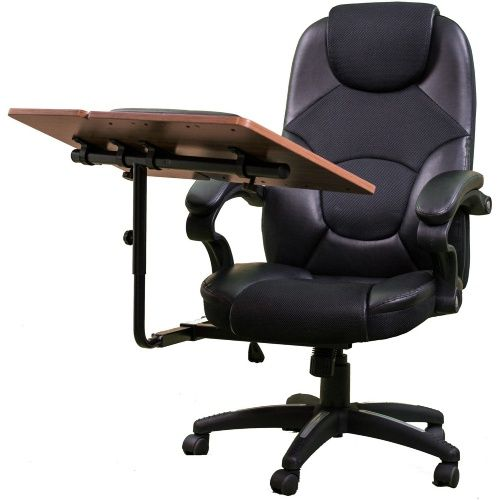 Computer Workstation Office Chair With Built In Desk Tray At Hayneedle Best Office Chair Office Workstations Office Chair