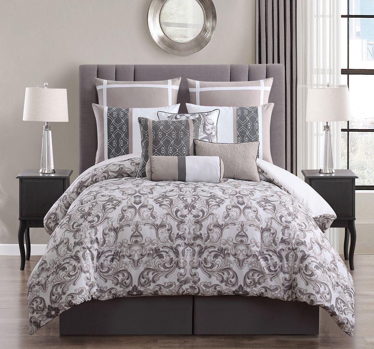 14 Piece Adeline Taupe/Ivory Bed in a Bag Set Comforter sets