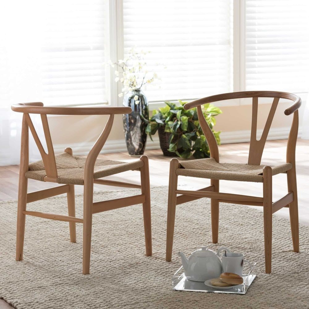 Wishbone Chair Set Wegner Scandi Style Brown Wood Dining Chairs With Hemp Seat Baxtonstudio Wood Dining Chairs Dining Chairs Brown Wood