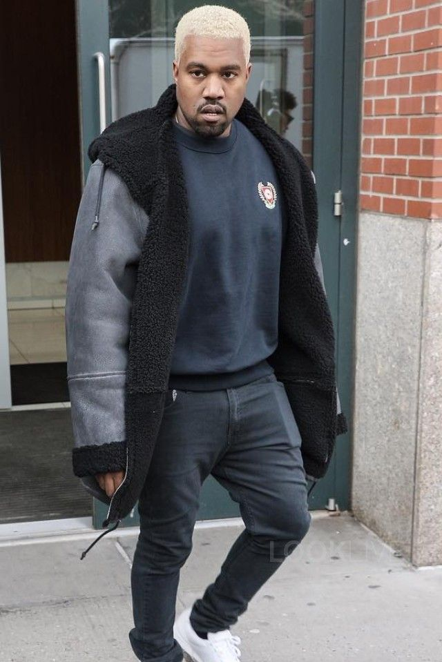 Kanye West wearing Acne Black Ace Jeans, Adidas Yeezy Season