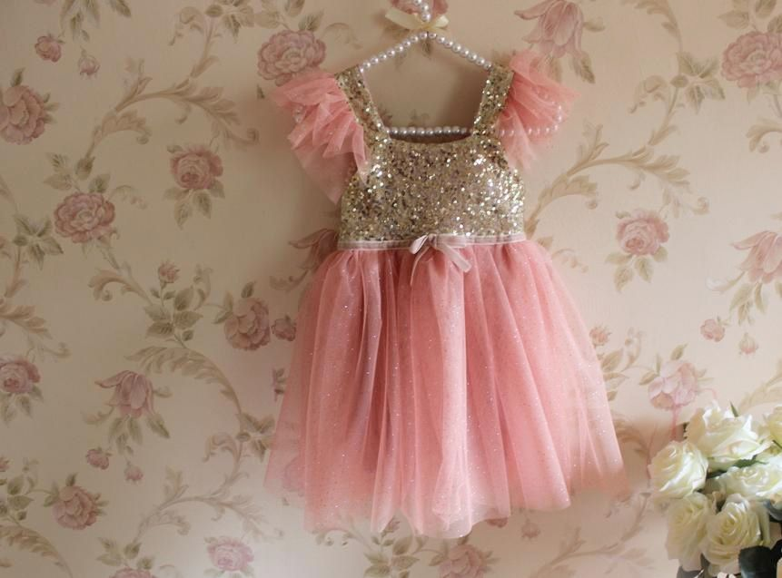 Pink and Gold Princess Dress - Dresses- Pink and Alex o&-39-loughlin