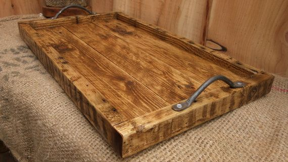 Large Rustic Serving Tray Wooden Tray Made From Reclaimed Pallet Wood Rustic Serving Trays Wood Pallets Rustic