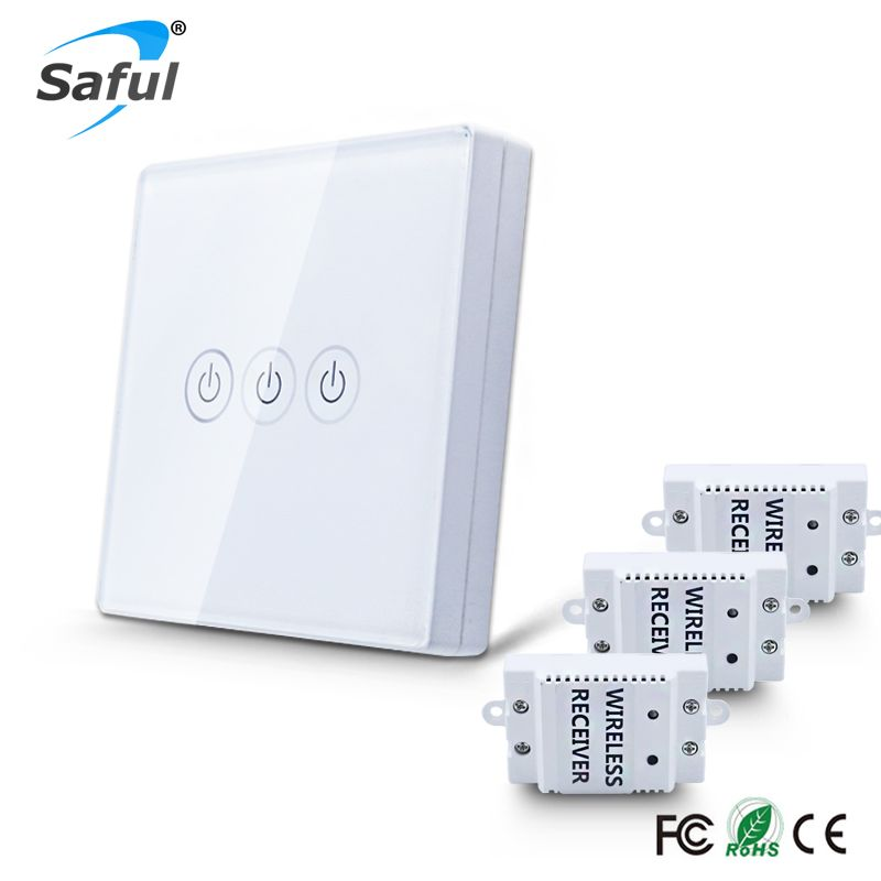 Wireless Touch Switch 3 Gang 3 Way Smart Home 220v Home Light Switch Long Remote Control Wall Switch Free Remote Control Light Touch Light Switch Light Switch