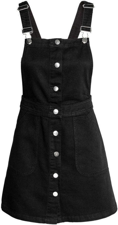 H M - Denim Bib Overall Dress - Black - Ladies  7a16be224