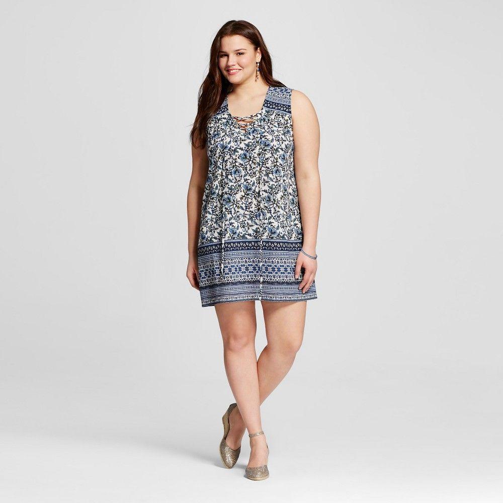 Womenus plus size sleeveless printed top navy blue x perch