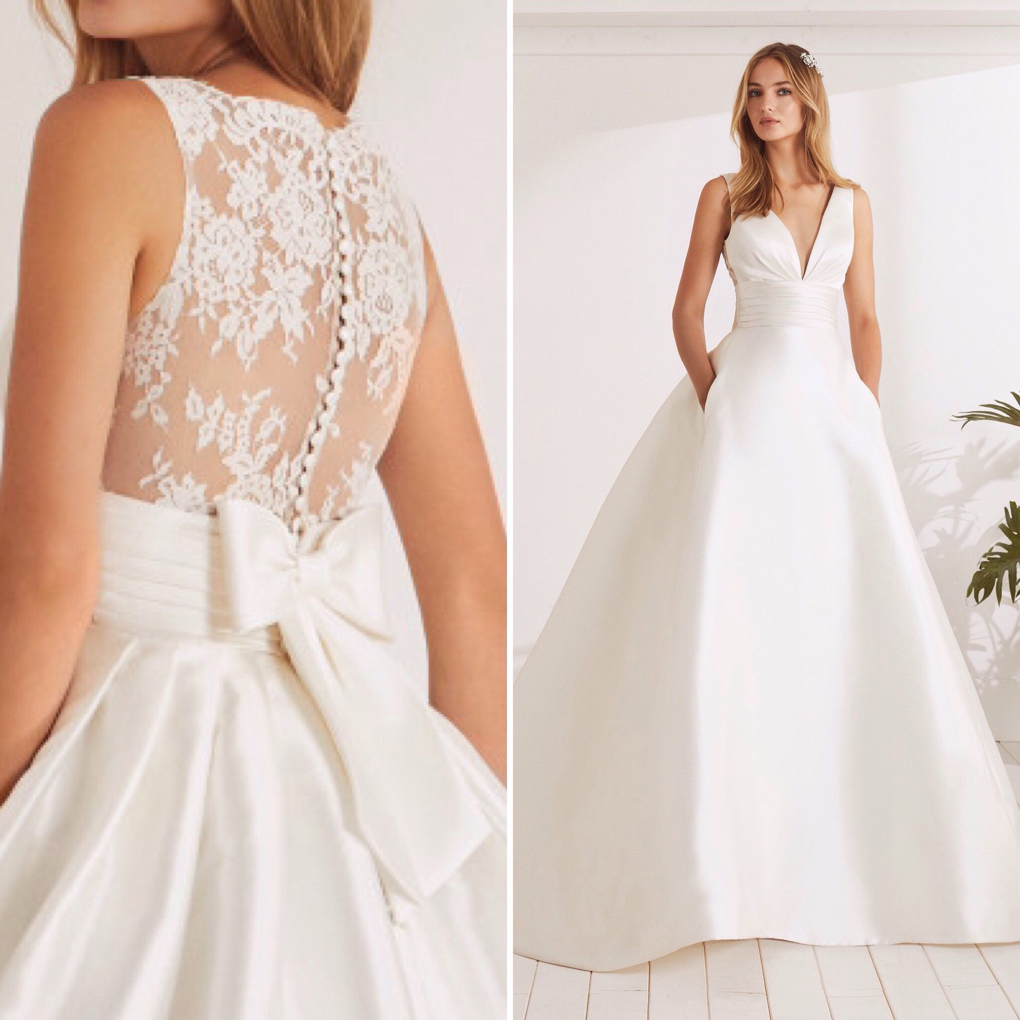 White one odina wedding dress with princess skirt pockets vneck