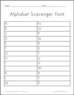 Alphabet Scavenger Hunt Worksheet Is Free To Print Pdf File