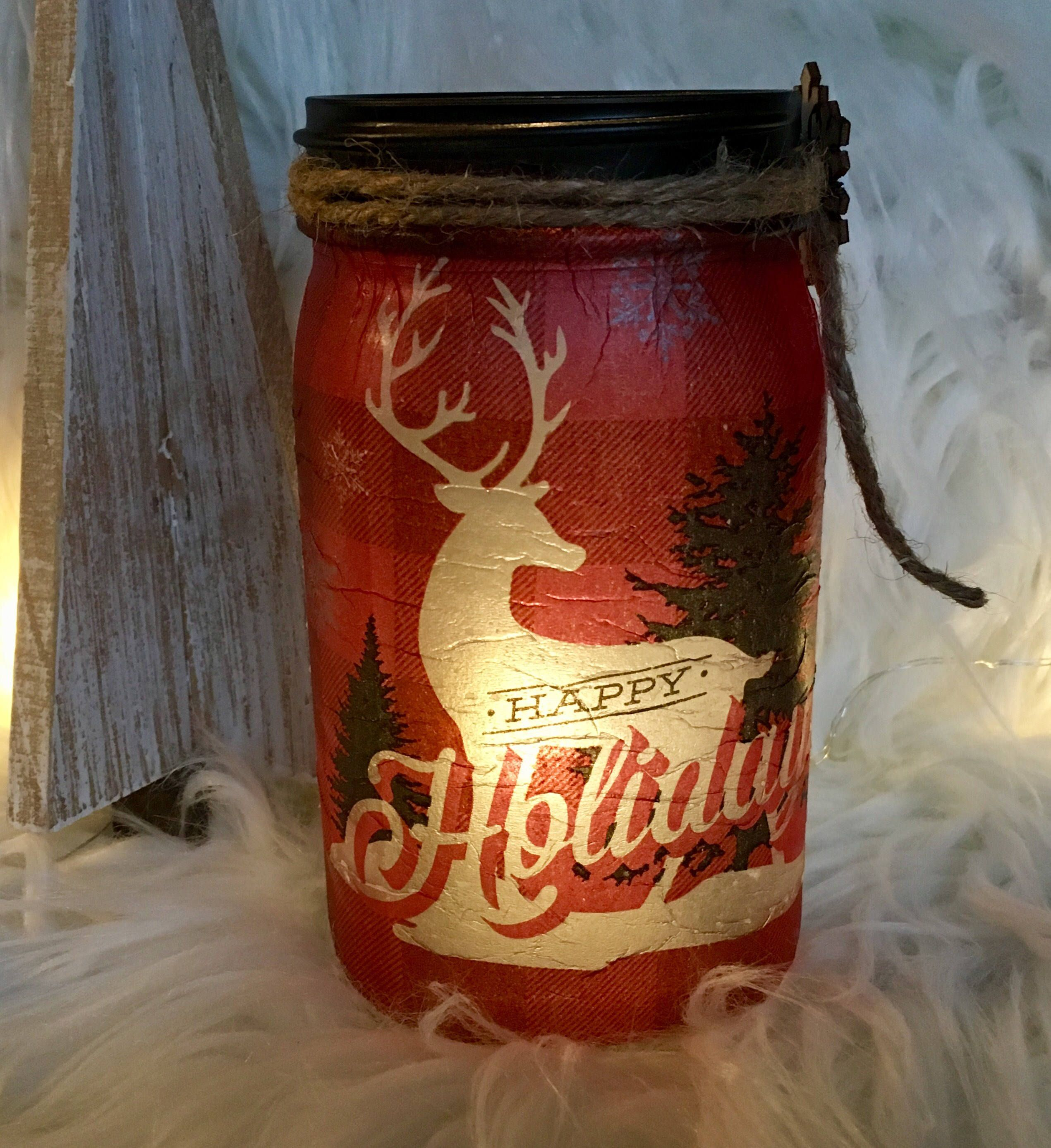 Deer mason jars red mason jar lighted bottles lighted