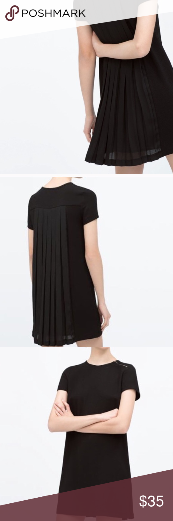 Back pleated dress by zara zara dresses neckline and zara black