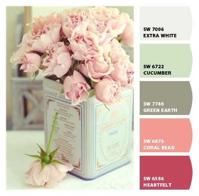 I love color palettes on pinterest paint colors dining for Shabby chic bedroom colors