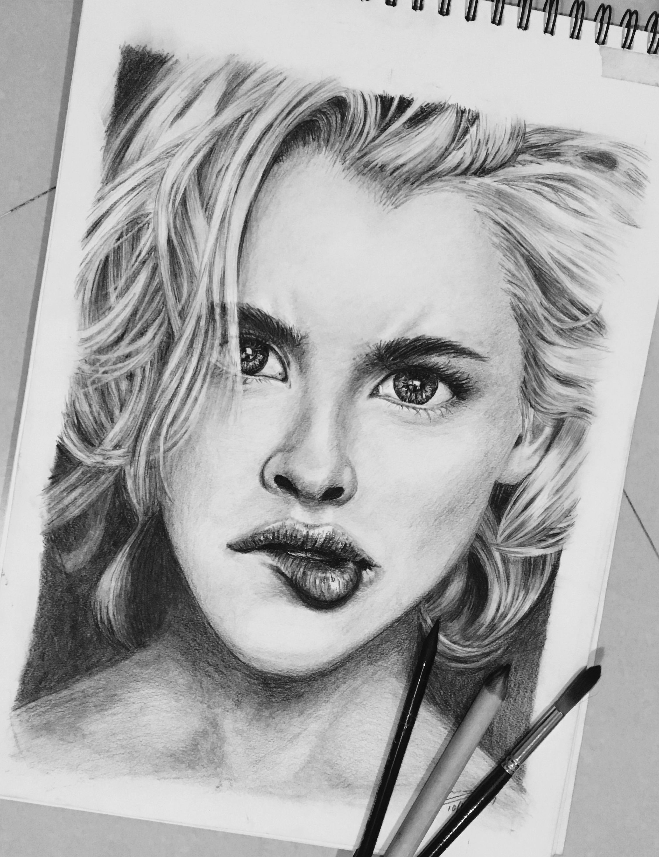 A charcoal pencil drawing done using Mont Marte woodless charcoal