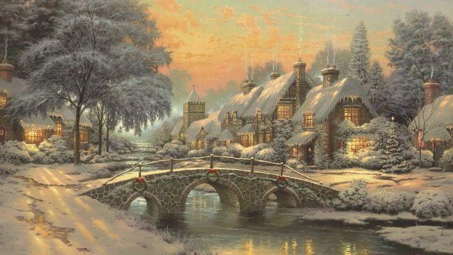 Herunterladen 1920×1080 Full HD Hintergrundbilder winter schnee fluss brücke we…