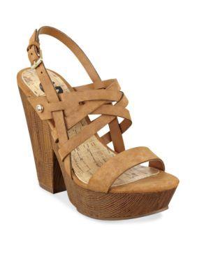 G by GUESS  Saint Faux Wood Sandal