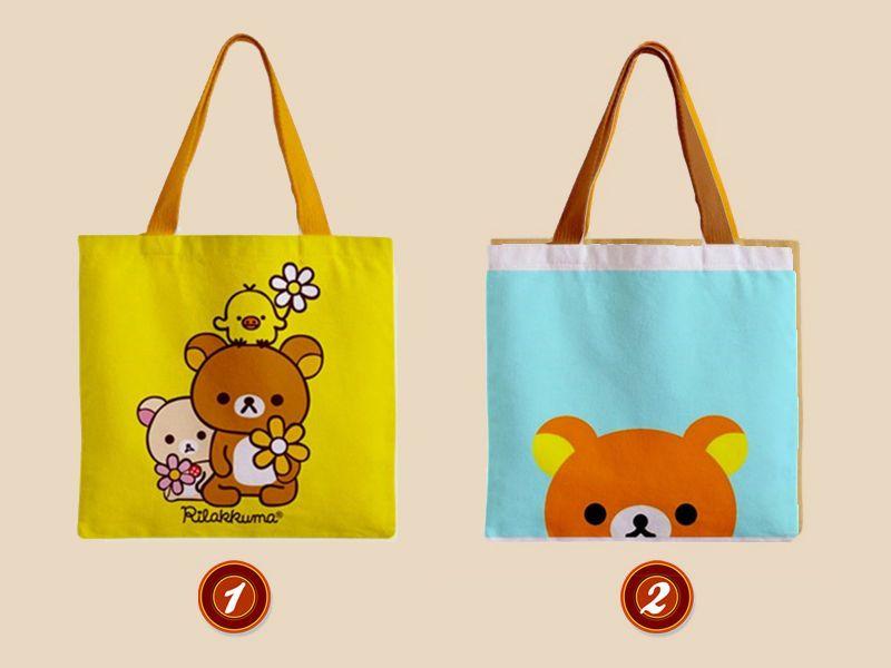 Cute rilakkuma grocery canvas tote bag anime gift bear