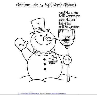 Christmas Color by Sight Words Teacher
