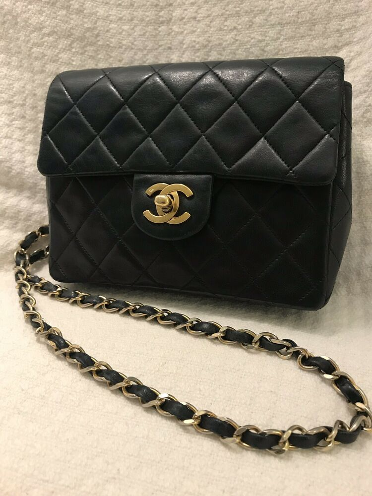 5260104f1f43 Authentic Chanel Navy Quilted Lambskin Vintage Classic Small Double Flap Bag