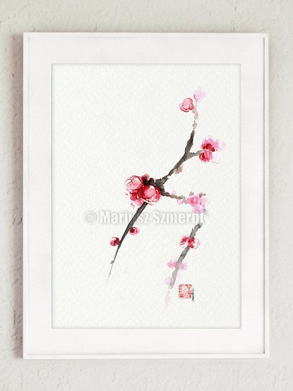 Cherry Blossom original artwork japanese style art. https://www.etsy.com/listing/228285106/cherry-blossom-original-watercolor-art?ref=shop_home_active_21 #japaneseart #cherryblossom #art #kunst #sumie #aquarelle #arte