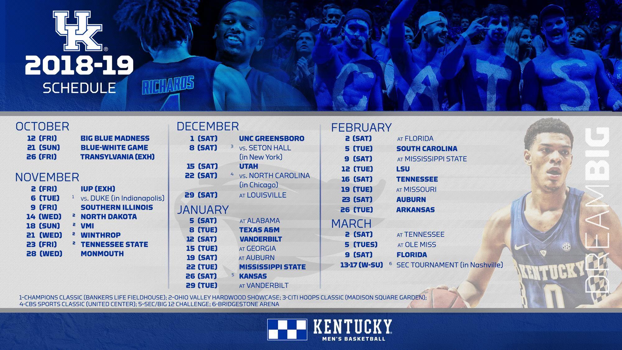 2018 19 Men S Basketball Schedule Kentucky Athletics Basketball Schedule University Of Kentucky
