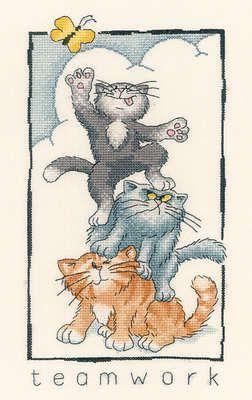 Teamwork - Peter Underhill Cat Cross Stitch
