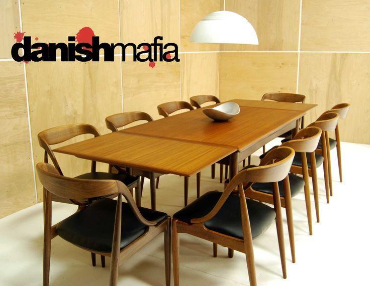 Danish Mid Century Modern Teak Retractable Leaf Dining Table Por Kinzco Retro Interior Design Pinterest And