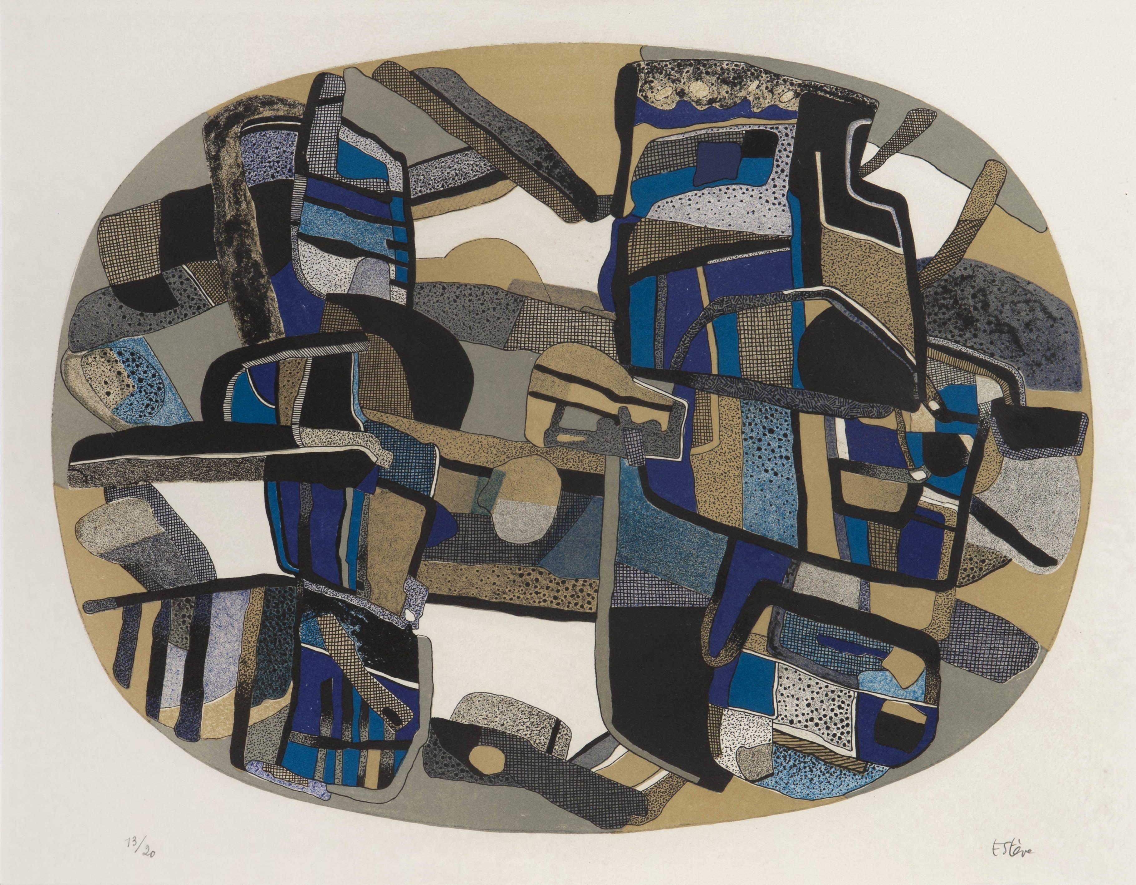 Maurice Esteve - Fouraille, 1980; lithographie en couleurs