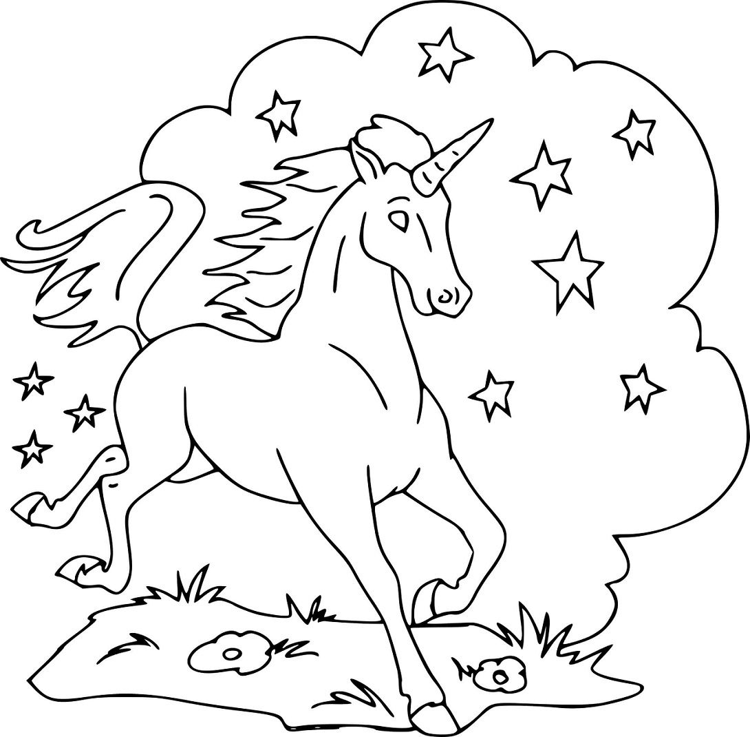 unicorn sleeping in the cloud coloring page  free