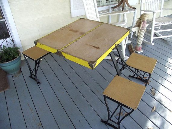 Vintage Folding Table U0026 Chair Set By Handy Company Picnic Table Portable  Industrial Fab Design