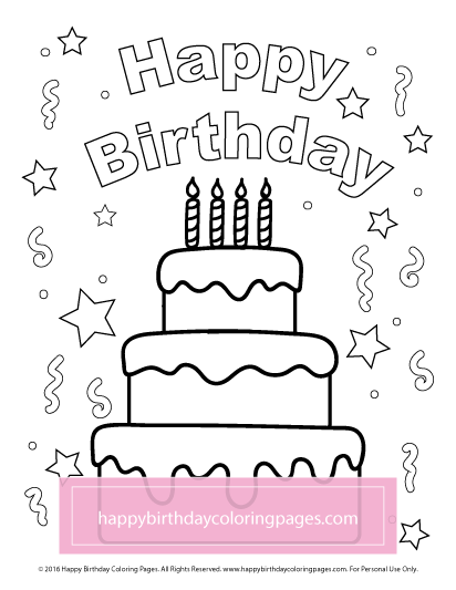 Happy Birthday Coloring Pages Printable Happybirthdaycoloringpages