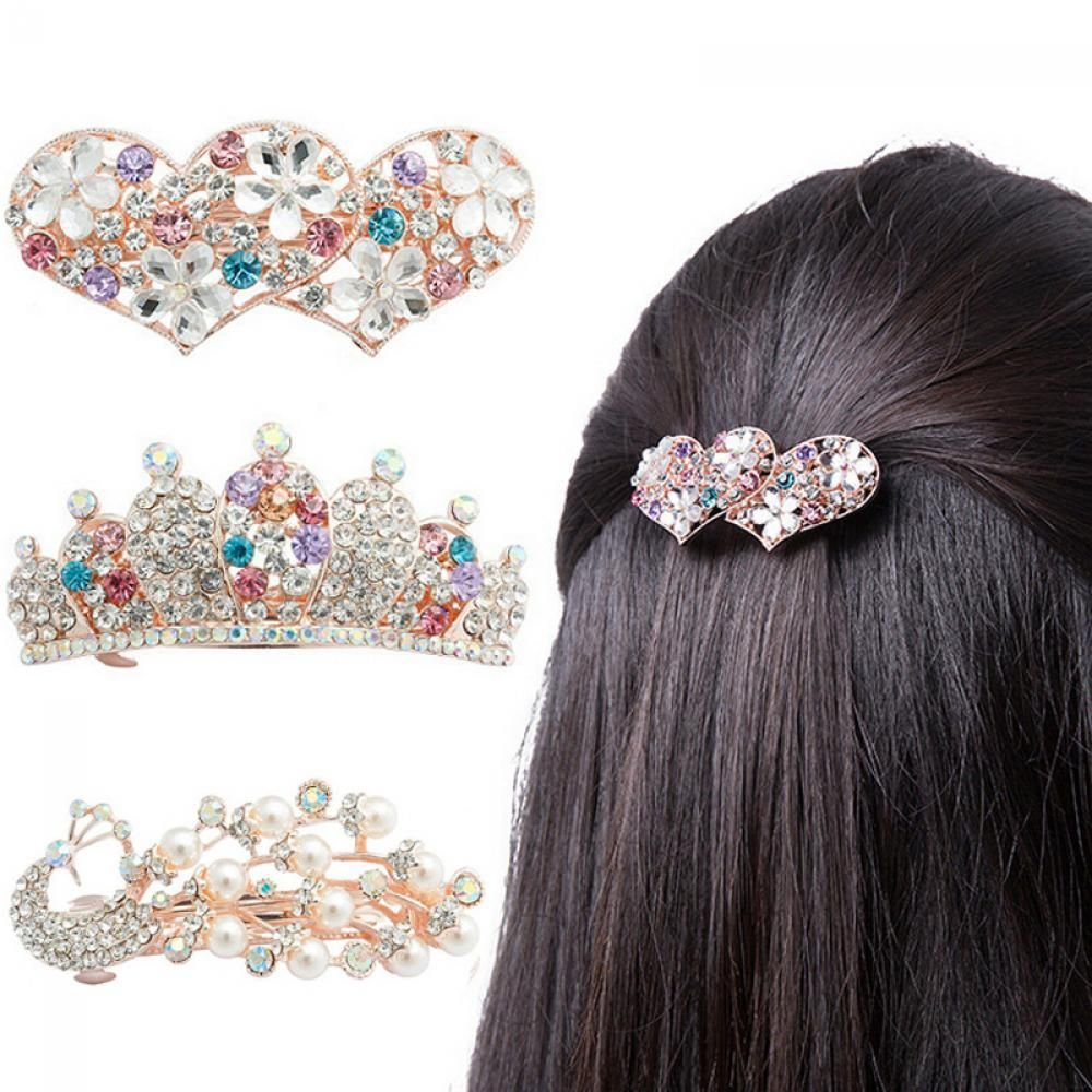 Fashion Women Crystal Bow Prom Hair Clip Hairpin Barrette Pearl Hair Wedding